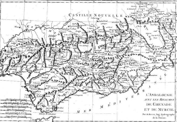 Mapa de Andalucía en el siglo XVIII