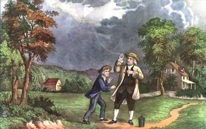 A Currier & Ives lithograph of Benjamin Franklin and his son William using a kite and key during a storm to prove that lightning was electricity, June 1752