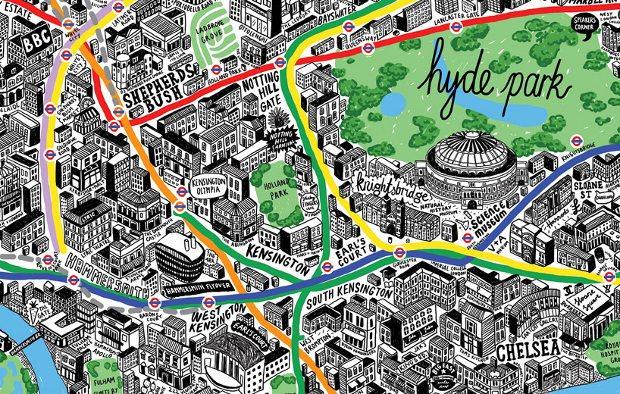 Un plano de Londres dibujado a mano