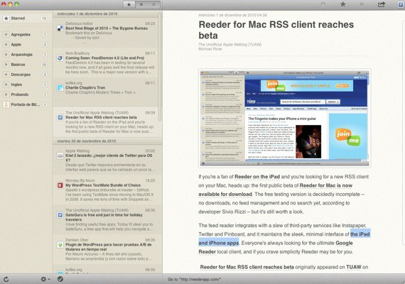 Reeder para mac beta ya disponible
