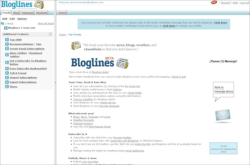 Usando Bloglines (o como seguir la pista a docenas de blogs, news, fotos y podcasts)