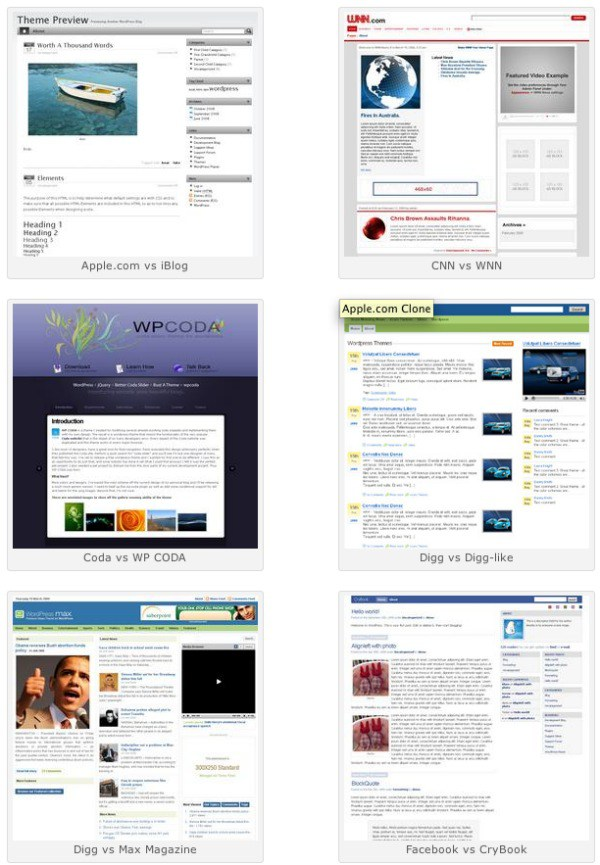 28 themes para WordPress clonados de webs famosas