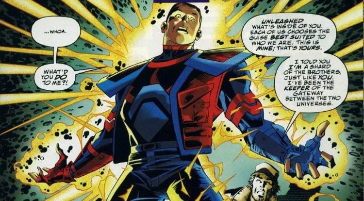 Access, el extraño superhéroe de cómic creado conjuntamente por Marvel y DC y cuya misión consiste en mantener separados sus respectivos universos