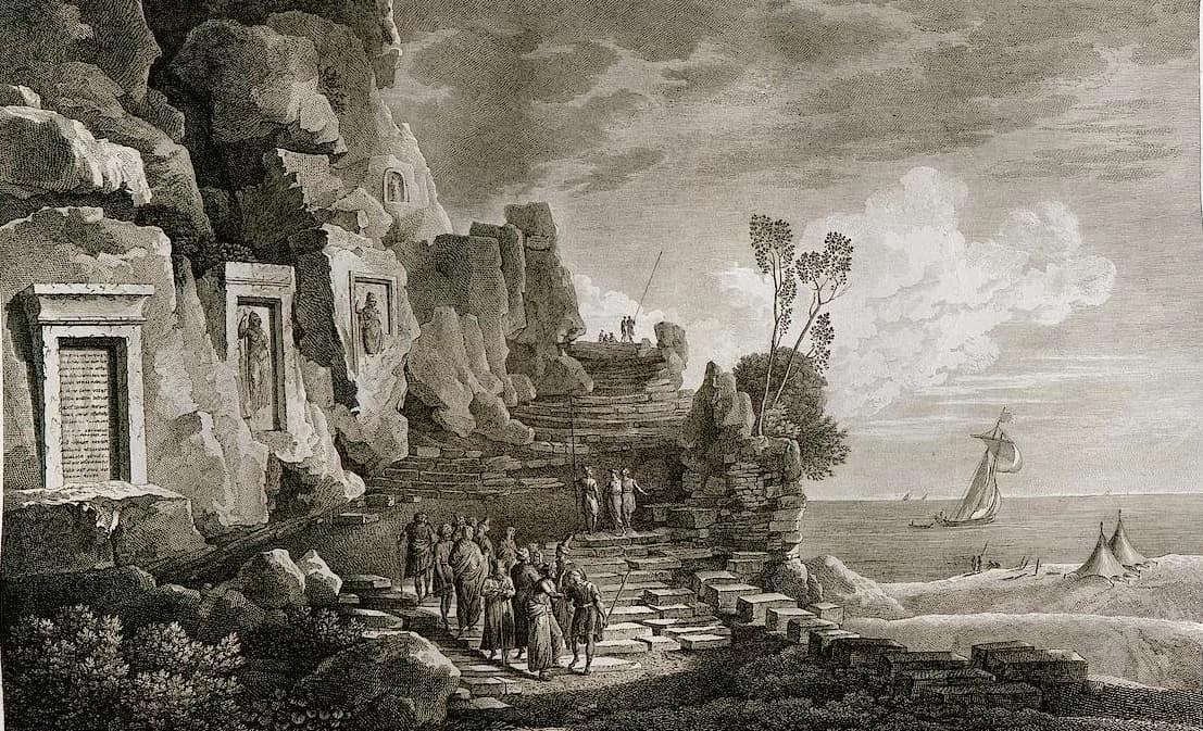 Las inscripciones de Nahr al-Kalb según un grabado de Louis François Cassas, 1799