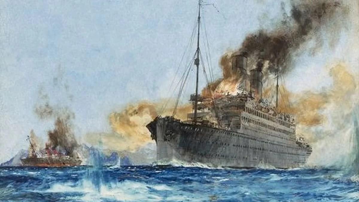 El combate entre el Cap Trafalgar y el Carmania (Charles Dixon)