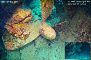 Test des phares vidéos de plongée 3XML lors d'une plongée épave en mer
