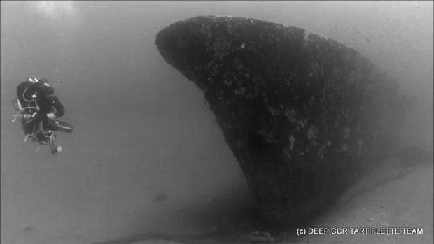 Plongée sur l'épave de la canonnière Insuma a Bastia en Corse