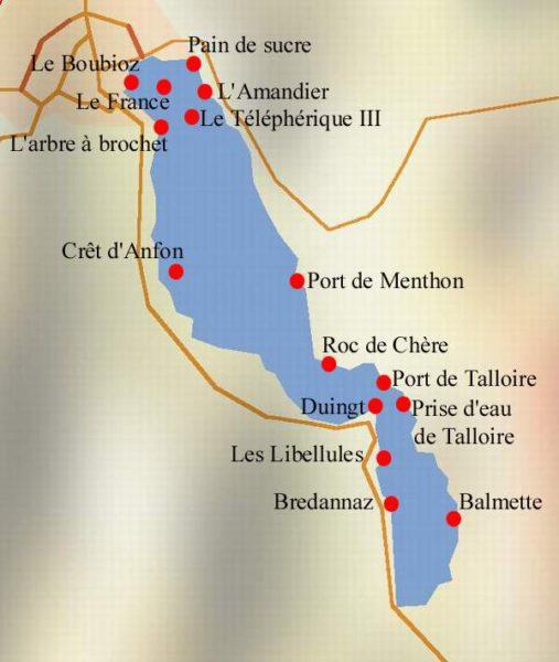 Carte des sites de plongée à Annecy