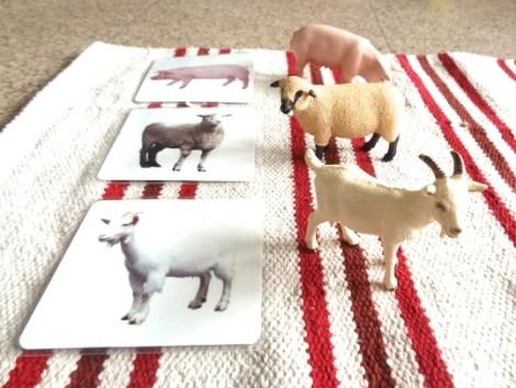 mise en paires cartes de nomenclature animaux de la ferme