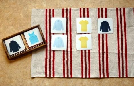 cartes de nomenclature Montessori vêtements