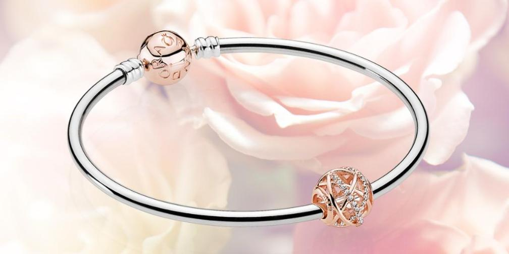 PANDORA Rose Bangle and Galaxy Charm