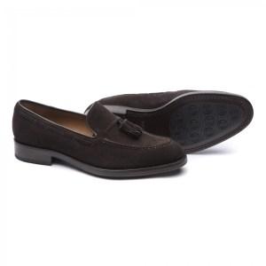 Zapato de borlas de ante moka