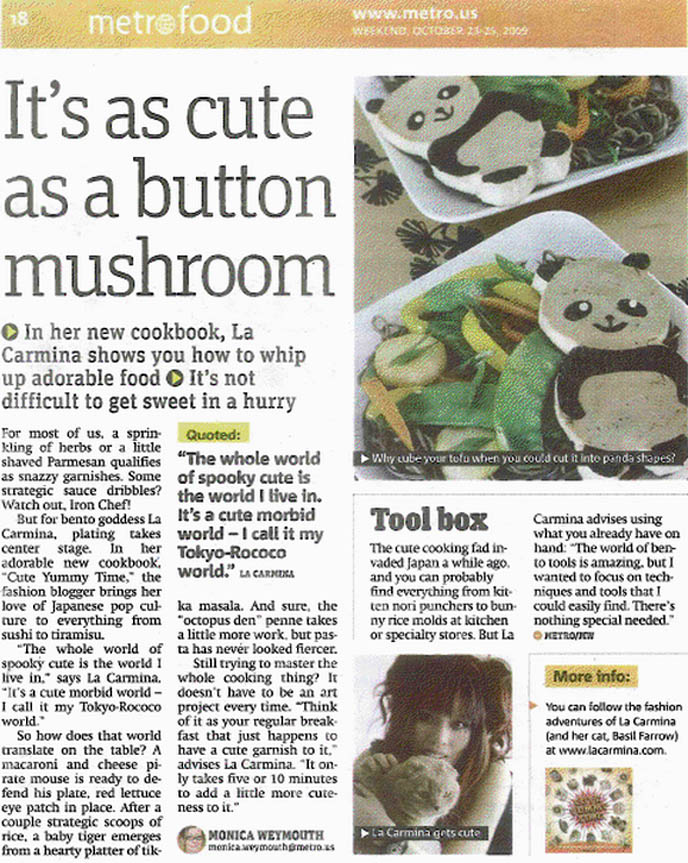 Cute Yummy Time kawaii recipes book, bento decoration, charaben character bentos artist, cookbook for making Hello Kitty cute food, La Carmina interview and article in Metro NY, panda soba tofu, Scottish Fold famous celebrity cat, fun food for kids, ideas for family food