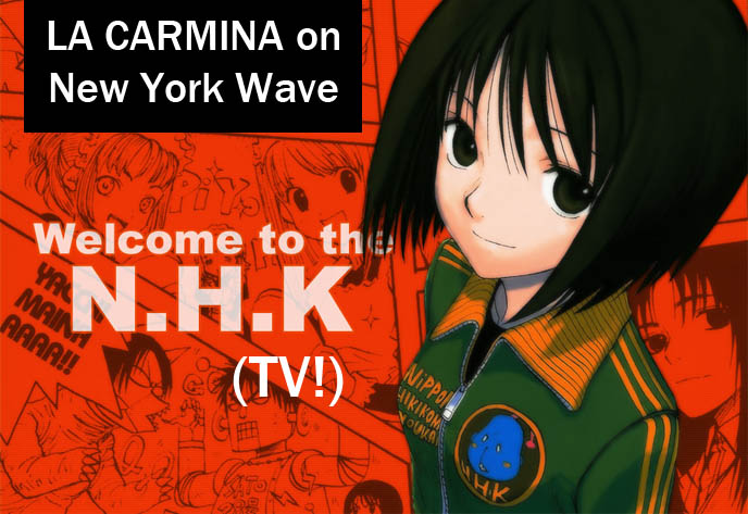 NHK New York Wave, Japanese national broadcaster TV station logo, documentary about cute charaben and bentos, bento box makers in NYC, face food, cute yummy time by La Carmina, tv host and guide