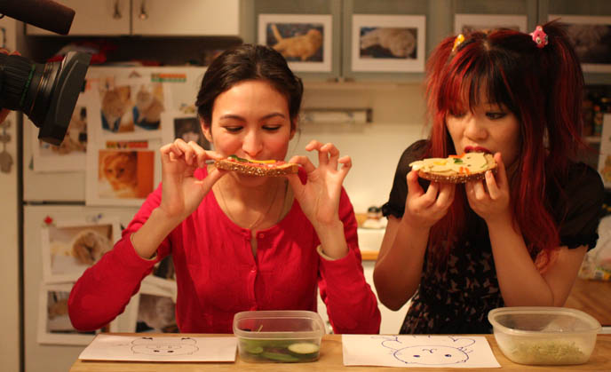 BONUS FOOTAGE FROM CUTE CHARACTER BENTO MAKING TV SHOW. FUNNY WEIRD JAPANESE TELEVISION, GAME SHOWS. NHK Japan tv, Tokyo filming, kawaii bentos, photos of bento lunch box decoration, cute yumm time cookbook by La Carmina. making animal shaped pancakes, eating cute animal sandwiches