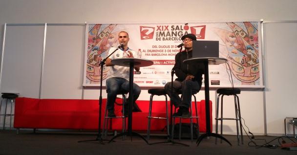 Shintaro Kago y Marc Bernabé en el encuentro con los fans de hoy