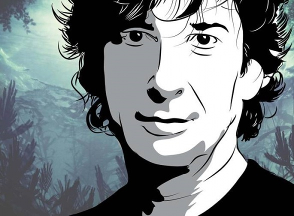 Neil Gaiman firmando nuestro ejemplar de Sandman