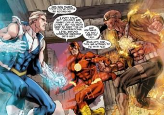 Capitán Frío y Heat Wave discutiendo delante de Flash