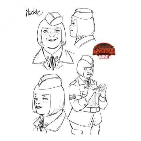 Boceto de Captain Marvel and the Carol Corps Mackie