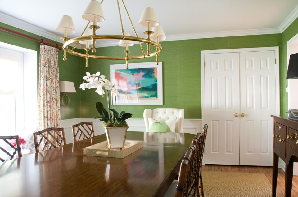 dining room dressed in olive green 03