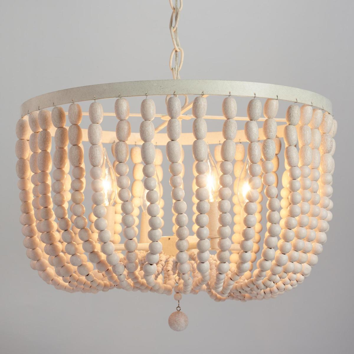 Wooden beads chandeliers and ceiling lamps 05