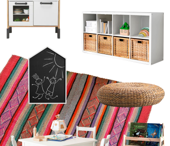 Inspiration board for a bohemian kids playroom 01