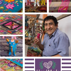 Ayacucho tapestries and visiting Artisan Emilio Fernández Quispe