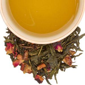 té verde con pera y rosas