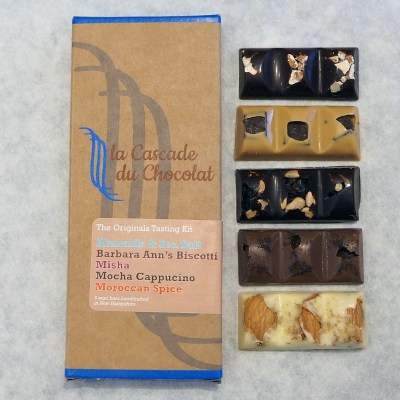 Selection of mini chocolate bars based on La Cascade du Chocolat's original flavors