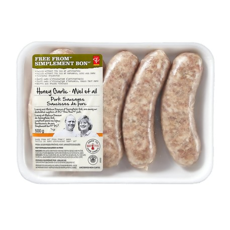 Presidents-Choice-Free-From-Sausages-Honey-Garlic-500g