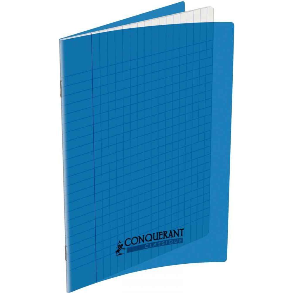 cahier piqure 60 pages 17x22 cm seyes 90g couverture polypropylene bleu