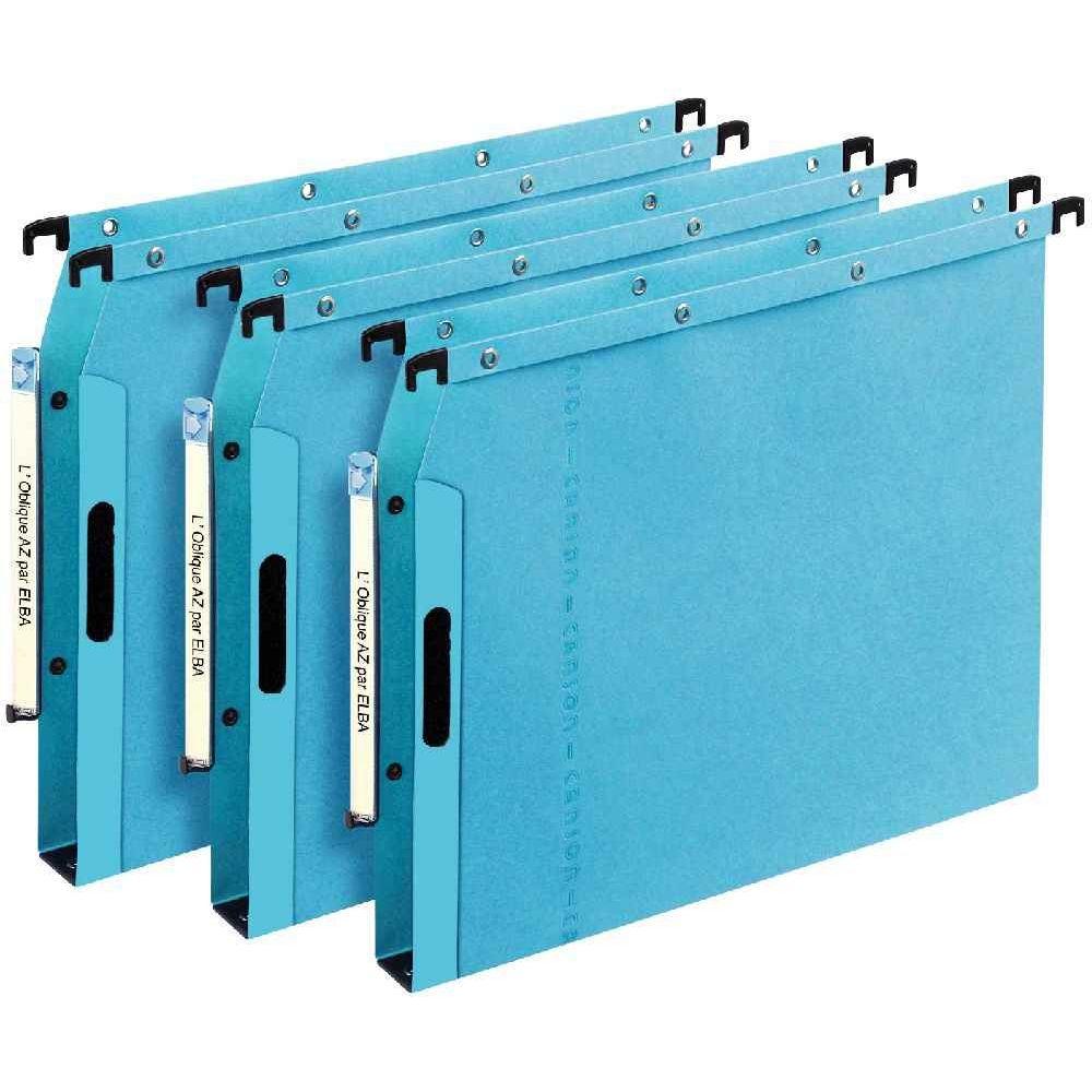 dossier suspendu l oblique az armoire dos 30 bleu paquet de 25