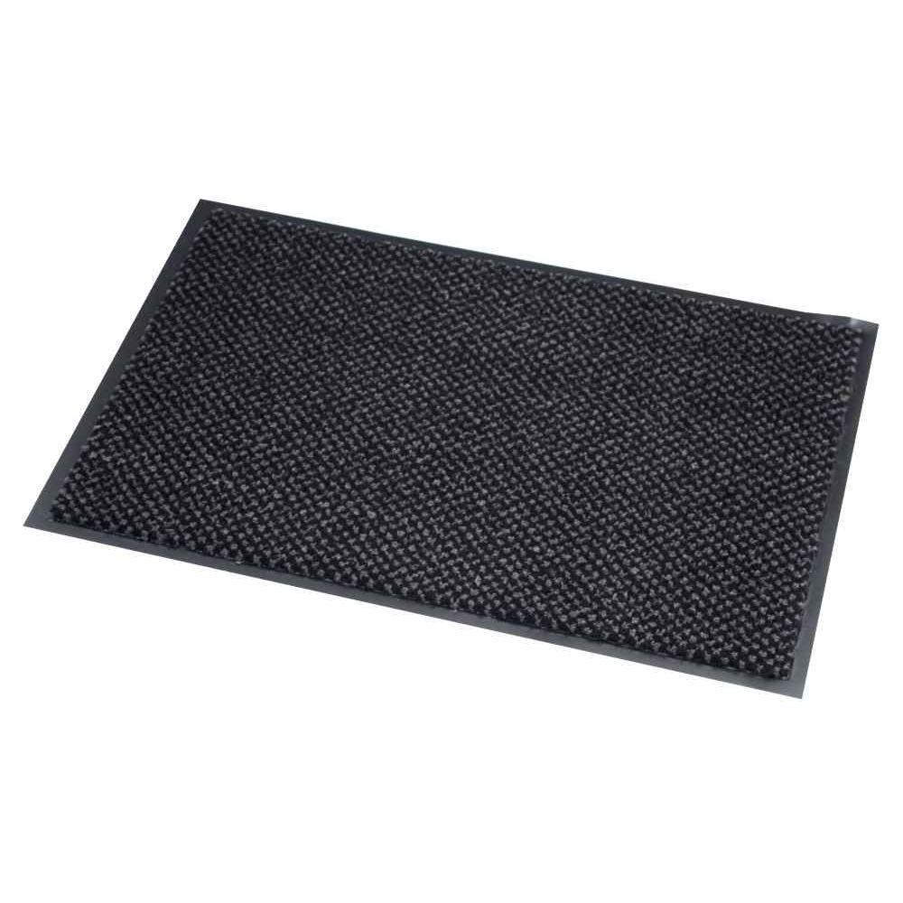 tapis d accueil qualite polypropylene microfibre aspect velours 60x90 gris