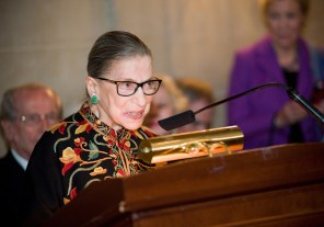 Supreme Court Justice Ruth Bader Ginsburg speaks at an event in her honor at the Society of the Cincinnati in Washington, D.C.