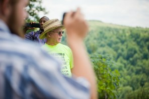 The late mountaintop removal opponent, Larry Gibson, shows visitors the view of a destroyed mountain adjacent to his land on Kayford Mountain in West Virginia.