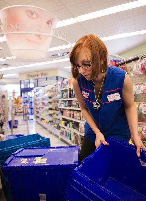 Heather Corbett, 17, works at Rite-Aid to help support her mother and 1-year-old daughter in Liberty, New York.
