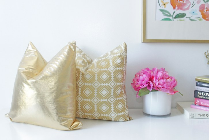 Gold pillows styled