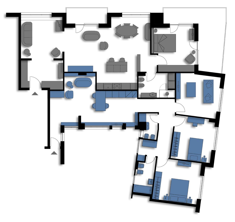 CASA CARLOTTA - Ristrutturazione e frazionamento di un appartamento di 190 mq a Roma - Giulia Mandetta Architetto - LCB|LAB - La Chaise Bleue (lachaisebleue.com)