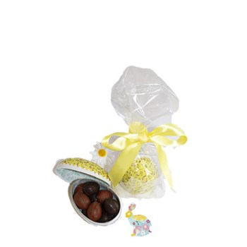 Oeuf en cartonnage décor fleuri garni de 85 g de petits oeufs pralinés