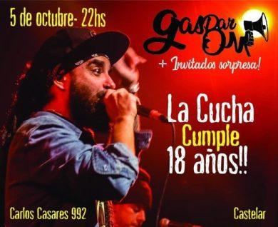 'La Cucha' festeja sus 18 años con show en vivo de Gaspar Om 1