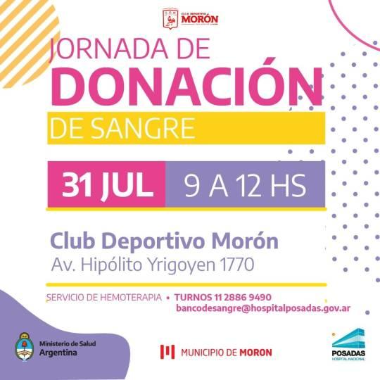 El Hospital Posadas organiza una colecta de sangre en el Club Deportivo Morón 1