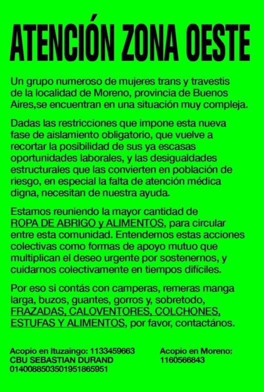 Moreno: Mujeres trans  necesitan donaciones de ropa y alimentos 1