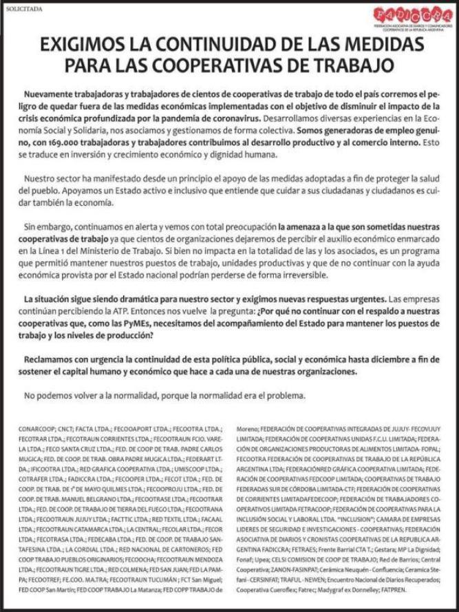 Fuerte reclamo de las cooperativas al  gobierno y al ministro Claudio Moroni 1