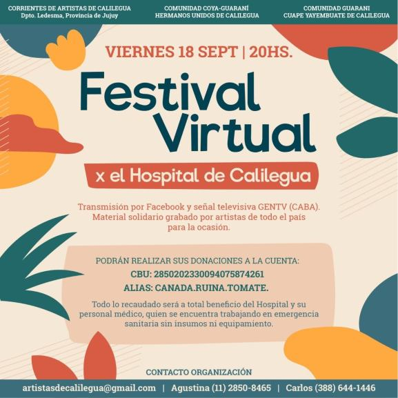 Gran Festival Virtual en beneficio de un hospital jujeño colapsado por el Coronavirus 1