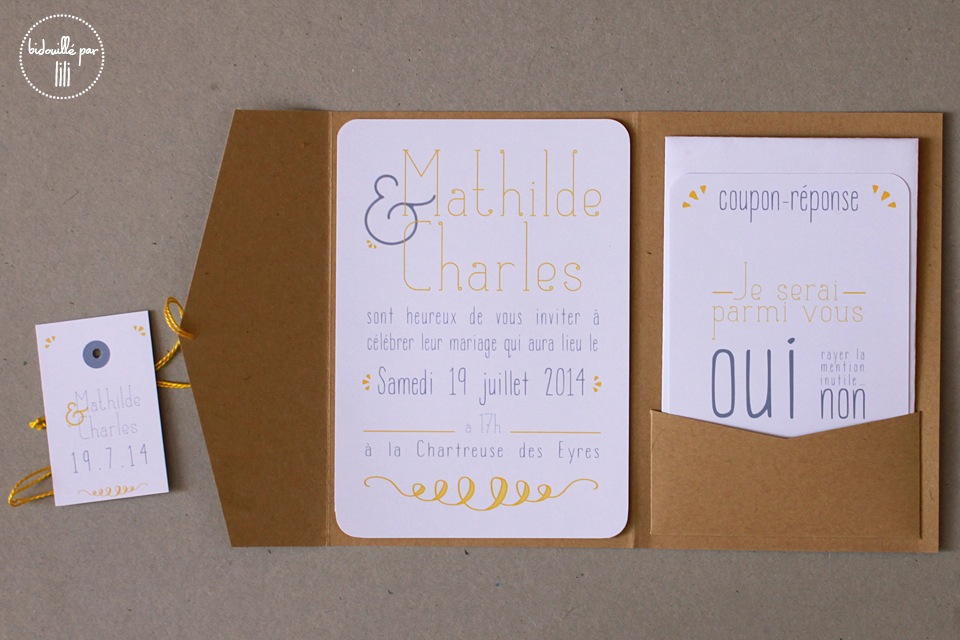 Faire-part pochette Kraft & lemon