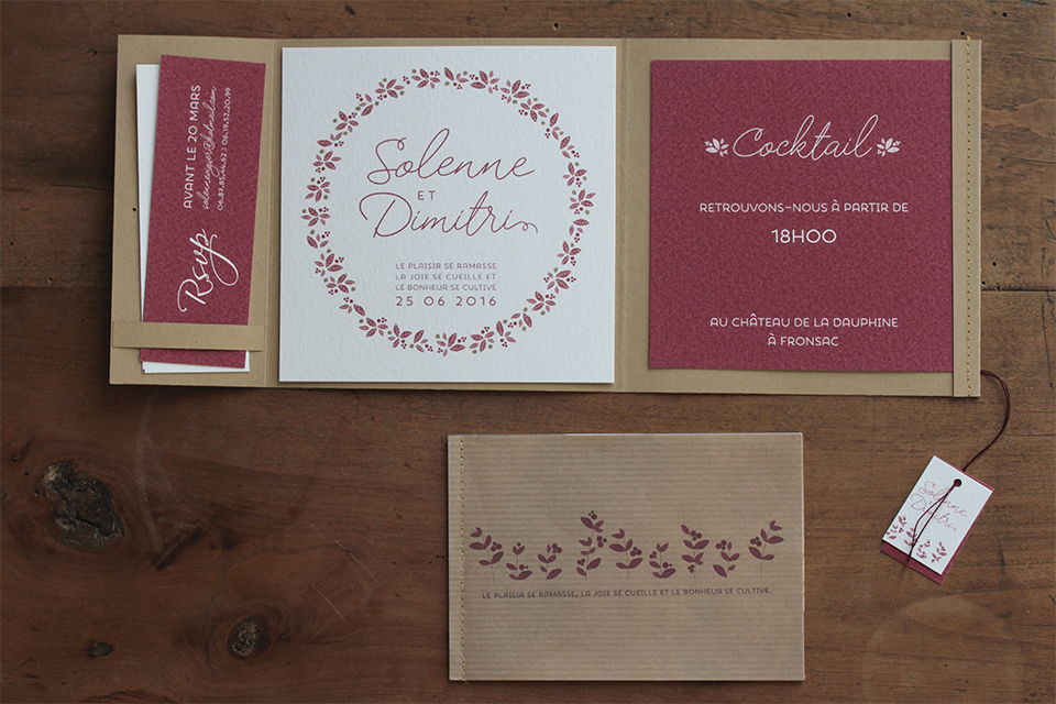 faire-part mariage kraft and wine