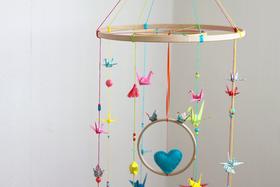 mobile origami multicolore