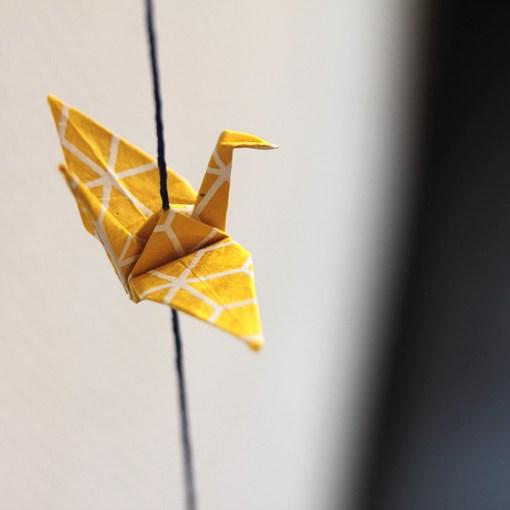 Guirlande grues origami black and white