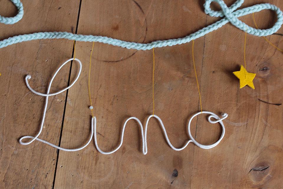 Guirlande prénom étoiles - prénom gris-crème