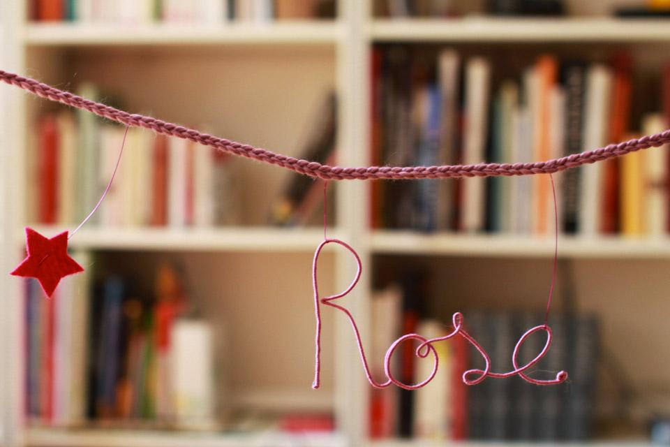 Guirlande prénom étoiles - prénom rose